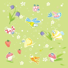 Spring green background with insects and flowers