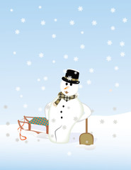 Snowman leaning against the snow shovel