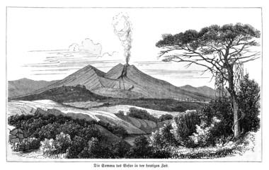 Ansicht des Vesuv im 19. Jahrhundert (Alte Lithographie)