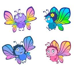 Четыре смешные бабочки