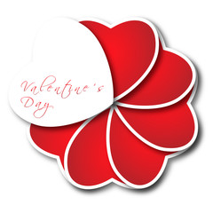 San Valentino, cartolina di auguri con cuori