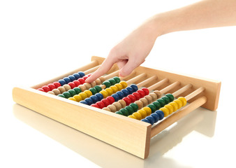 Accountant counting on an abacus, isolated on white