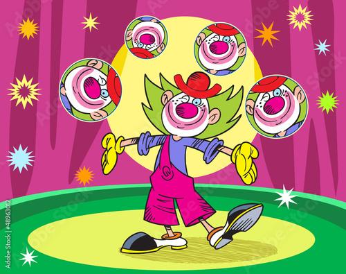 Клоуны на арене цирка рисунок
