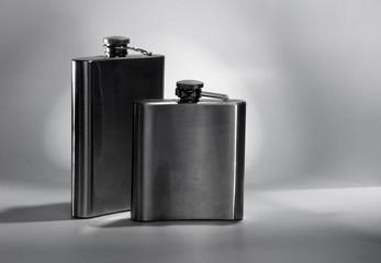 Steel flask.
