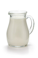Jug with fresh milk on a white