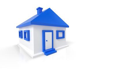 Kleines 3D Einfamilienhaus Blau