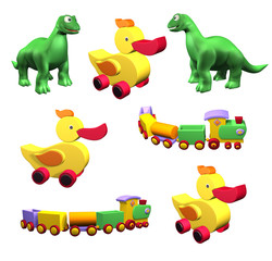 Set of colorful children's toys: duck, dino, train isolated