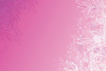 Vector glowing pink tree branches horizontal background with