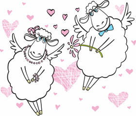 Cute sheep in love