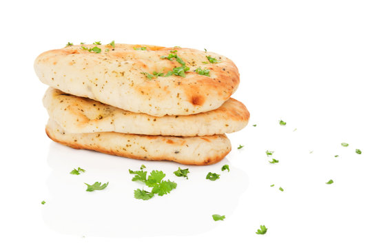 Naan bread isolated.