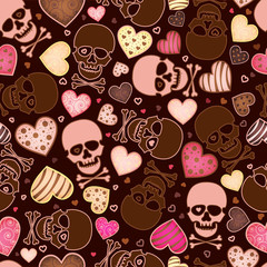 seamless pattern with skull and  heart