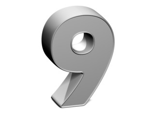 3D shiny grey number collection over white background