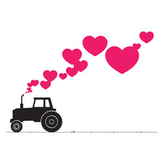 Abstract vector illustration with tractor and hearts.
