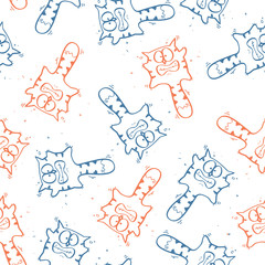 Seamless texture with funny cartoon cats. Vector illustration.