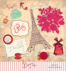 Foto op Plexiglas Doodle Vector set of Paris symbols