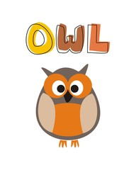 O is for owl vector owl under hand drawn word wisdom symbol