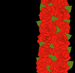 red roses and green leaves on black background.