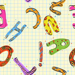 Childish alphabet seamless texture. Vector illustration.
