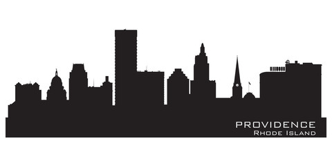Providence, Rhode Island skyline. Detailed city silhouette
