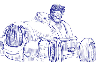 Moto racer driving old fast car - a hand drawn illustration