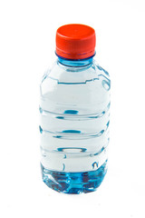 A bottle of water with an orange lid