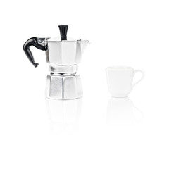 Moka Pot, italian espresso machine coffee maker and a cup