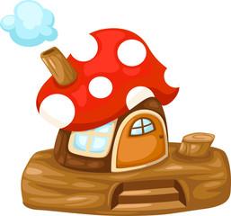 Photo sur Plexiglas Monde magique illustration of isolated fantasy Mushroom house vector