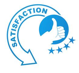 satisfaction sur symbole validé bleu