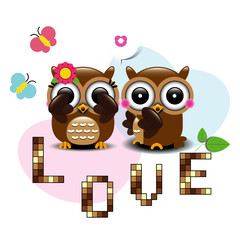 Couple of owls in love