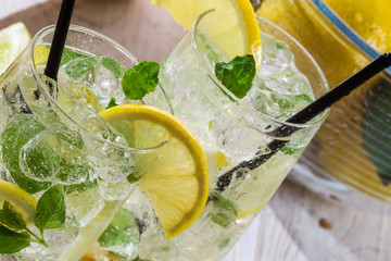 Lemon drink with ice and mint leaf