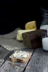 Slice of bread on vintage wooden boards