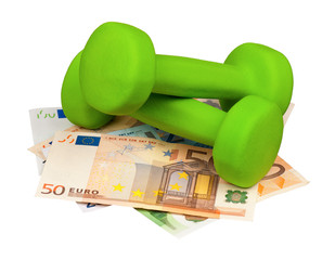 Euro and dumbbells