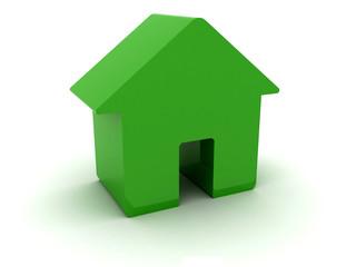 3D green house. Concept illustration.
