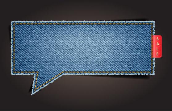 Jeans texture background on retro style speech bubbles