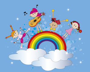 Door stickers Rainbow happy children