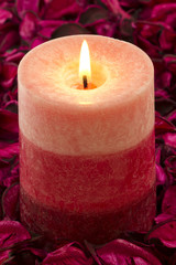 Close up to the candle on rose petals
