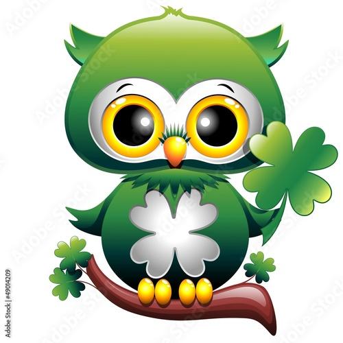 Baby owl st patrick cartoon gufo cucciolo con - Immagini st patrick a colori ...
