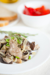 oyster mushrooms cooked with onion