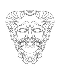 greek theatrical mask of satyr