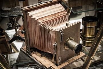 Retro wooden photo camera