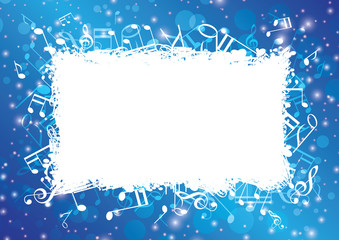 blue abstract musical background with notes and bokeh - vector