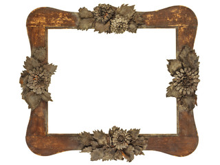Old picture frame with wood cut grey flowers isolated on white