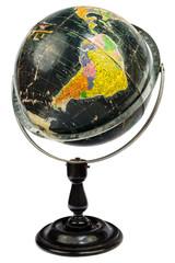 Antique black globe isolated on white