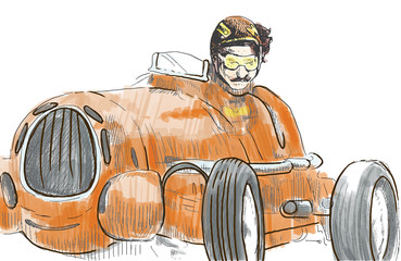 Racer driving old fast car - hand drawing converted to vector