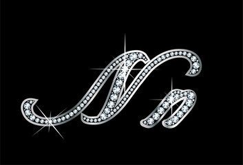 Script Diamond Bling Nn Letters