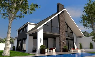 Villa mit Satteldach