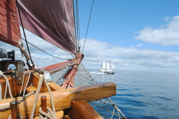 Classic wooden sailboat ship bow