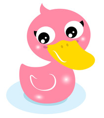 Cute little pink rubber duck isolated on white