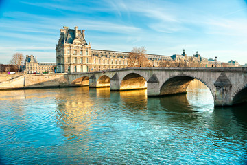 Louvre Museum and Pont du Carousel, Paris - France
