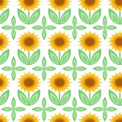 Vector illustration of seamless pattern with sunflowers
